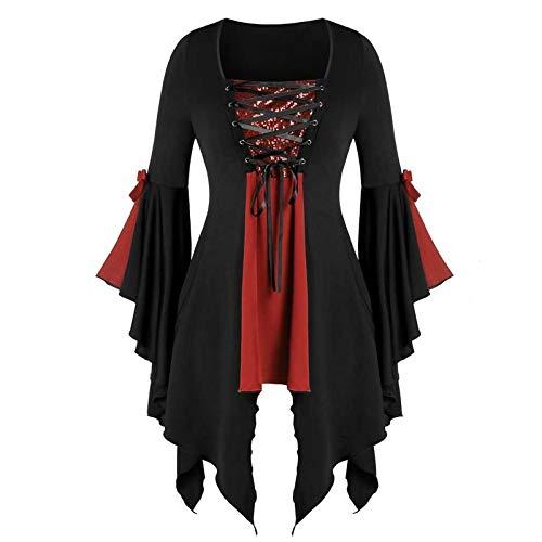 T-Shirt Damen Gothic Shirt Bluse Kurzarm Punk Top Lässige Kleid Tunika Bodycon Cut Out Kurzarmshirt Oberteil Tops Freizeit Party Kleidung Streetwear
