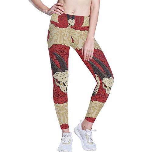 MONTOJ - Pantalones de yoga con diseño de calavera de cabra en rosas rojas, cintura alta, pantalones de entrenamiento para mujer