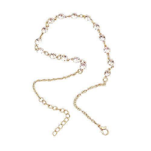 Women Necklace Bracelet Anklets Shiny Diamond Alloy Clavicle Choker Necklace 925 Sterling Silver Adjustable Chain Jewelry Uribaky