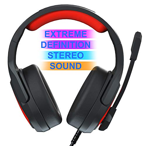 Gaming Headset Over Ear Stereo Headphone with Mic, (Black Red)