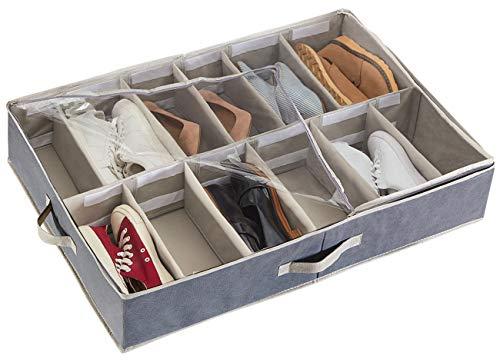 YOUDENOVA Organizador de zapatos debajo de la cama, 12 compartimentos para almacenamiento de zapatos con separadores ajustables, color...