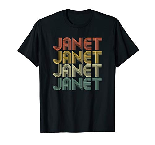 Janet Retro Personalized First Name 1970s Vintage T-Shirt