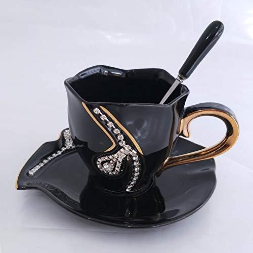 LOVLING glazen pot diamant design koffiemok, cadeau-idee voor gasten, theekopjes van keramiek 3D met strass versieringen kopjes en schoteltjes