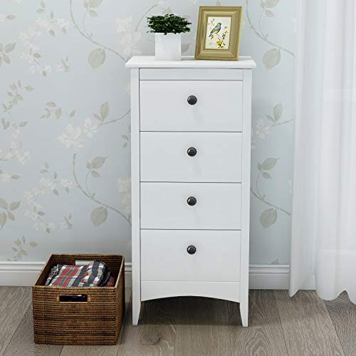Itopfoxeu Tall Chest of 4 Drawers Clothes Organizer, White Bedside Cabinet Wood Storage Chest Bedroom Hallway Entryway Furniture Tall Storage Cabinet Anti-Tipping Supports White