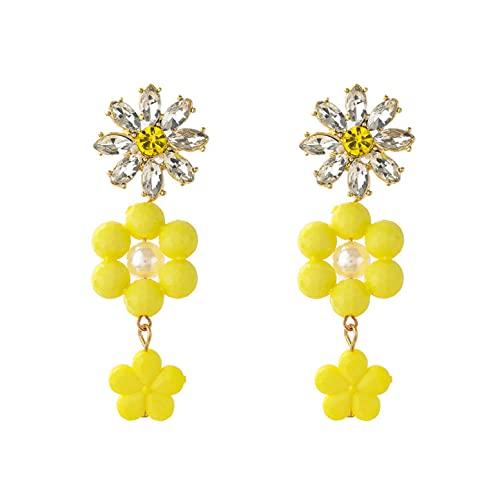 Pendientes de flores de resina acrílica de metal pendientes largos populares para mujer accesorios de fiesta