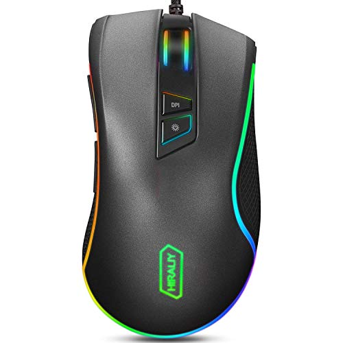 HIRALIY F300 Gaming Mouse Wired 10,000 DPI Adjustable 7 Programmable Buttons...