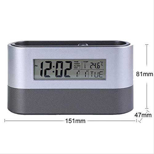 RQZQ Pen Container Office Desktop Opslag Pen Houder Gereedschap Naam Kaart Container met Digitale Alarm Klok Timer Kalender Temperatuur Thermometer