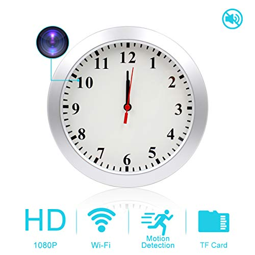 AMCSXH HD 1080P WiFi Hidden Camera Wall Clock with Motion Detection, Security for Home and Office, Nanny Cam/Pet Cam/Wall Clock Cam, Remote-Real Time...