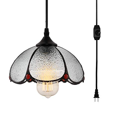 HMVPL Tiffany Style Pendent Ceiling Light with 16.4 Ft Plug in Cord and On/Off Dimmer Switch,...
