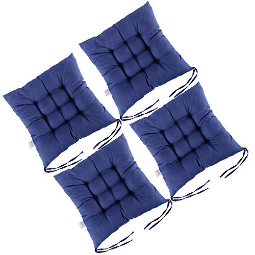 Dandelionsky 4 Pack Seat Pads Chair Cushion for Dining Chair Portable Thicken Cotton Non-Slip Navy Blue Seat Pad Cushion with Ties for Outdoor Garden,Office,Living Room 38 x 38 cm