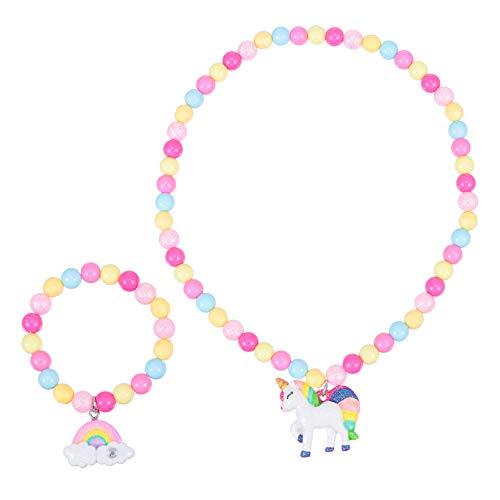 Amosfun 2 Stück/Set Einhorn Perlenkette Und Armbänder Set Regenbogen Pony Perlen Armbänder Einhorn Anhänger Halskette Geburtstag Ostern Geschenk für Jugendliche Kinder Mädchen