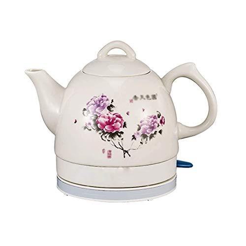 Z-Color Electric Ceramic Cordless White Kettle Teapot - Retro 1.0 L Jug, 1000w Boils Water Fast for Tea, Coffee, Soup, Removable Base, Boil Dry Protection