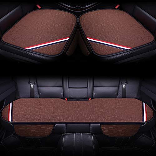Housses de siège auto, coussins universels en fibre de lin pour le bureau, coussins respirants, kit intérieur avant de 3 pack intérieur de voiture. (Couleur : Brown)