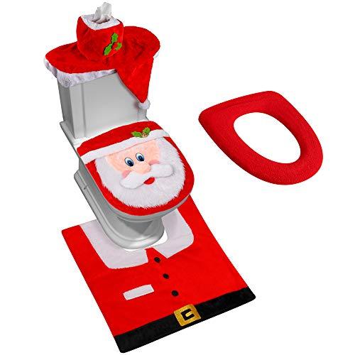 D-FantiX 3D Nose Santa Toilet Seat Cover Funny Christmas Decorations Bathroom Set of 5