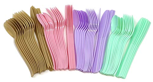 Unicorn Party Pastel Rainbow Birthday Plastic Cutlery Utensils (24 Count)