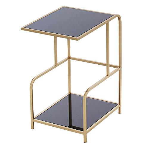 Home&Selected Furniture/woonkamer, van gehard glas, multifunctioneel, 2 lagen, bijzettafel, rechthoekig, nachtkastje (kleur: B)