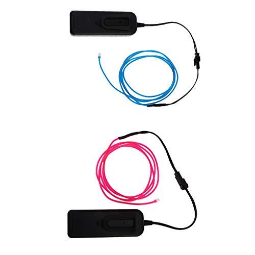 non-brand 2 Piezas Luces de Neón Luminiscentes LED Resplandor Cable Hilo Tira...