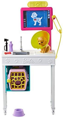 Barbie Oficina de Veterinario, set con perrito y accesorios de veterinaria (Mattel...