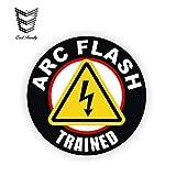 12cm x 12cm ARC Flash Calcomanía de Casco entrenado Etiqueta Adhesiva de Casco Etiqueta de Vinilo de Peligro de Descarga eléctrica