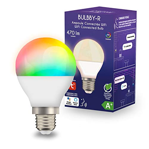 Logicom HOME_BULBBY-R Objet LED connectée E27-Ampoule Alexa et Google Ampoule Color 5 Watts-16, 16 Millions de Couleurs