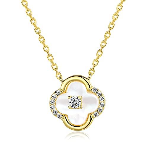 Shuang S925 plata esterlina Lucky cuatro hojas trébol collar femenino simple 14 K oro clavícula cadena luz joyería lujo
