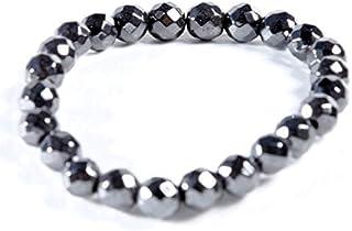 AIMANTIX - Bracelet Hématite Magnétique Homme et Femme Grosses Billes - Bracelet Aimant à Facettes - Apporte de l'Energie ...