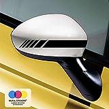 mural stickers Car Stripes - Adesivi per Specchietti Macchina - Strisce Design - Tuning - Confezione da 6 unità Ideale per Tutte Le Auto - Sinistro E Destro Striscia Striscia Nero 20cm x 2cm
