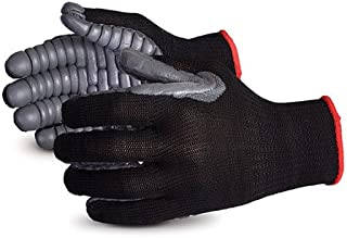 Superior S10VIB Vibrastop Nylon Anti Vibration Full Finger String Knit Glove with Anti-Vibe Chloroprene Coated Palm, Work, 7 Gauge Thickness, Large, Black (Pack of 1 Pair)