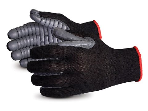 Superior S10VIB Vibrastop Nylon Anti Vibration Full Finger String Knit Glove with Anti-Vibe Chloroprene Coated Palm, Work, 7 Gauge Thickness, Large, Black (Pack of 1 Pair)