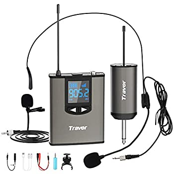 Travor Wireless Microphone System Headset/Lavalier Lapel Mic 164ft Range with Rechargeable Bodypack Transmitter & Receiver 1/4  Output for Live Performances Support Phone