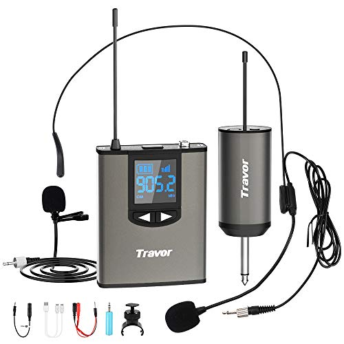 "Travor Wireless Microphone System Headset/Lavalier Lapel Mic 164ft Range with Rechargeable Bodypack Transmitter & Receiver 1/4"" Output for Live Performances, Support Phone"