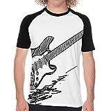 Camiseta de Manga Corta para Hombre,Guitarra eléctrica de Estilo Dibujado a Mano sobre Fondo Blanco Bosquejo de acordes de música,Divertidas Imprimir gráfica con Cuello Redondo y diseño Creativo S