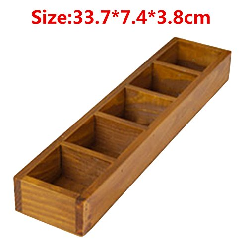 YAOHM 12-Slots Houten Lade Organizer Flatware Lade Planten Opbergdoos Pen Potlood Houder Case Container, F