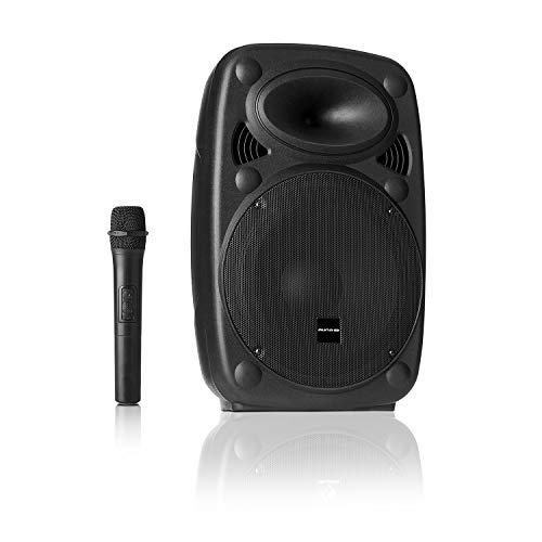 AUNA Pro Streetstar - Sistema PA Mobile, Cassa Bluetooth, Karaoke, Subwoofer, Microfono Wireless UHF, solido Alloggiamento in ABS, Maniglie di Trasporto, Design Bassreflex, Line-Out, 200 W, Nero