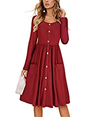 Design:Decorative Button Down Dress/Midi Dress/Fall Dress/Long Sleeve/Solid Color/Round Neck/Dress with Two Pockets(Tips:buttons are decoration only, not functional.) This is a super classic women midi dress for elegant lover! -A Large amount of clas...