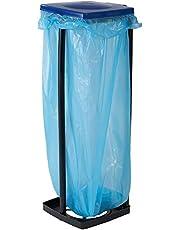 axentia Afvalzakhouder met deksel, standaard voor vuilniszakken tot 120 liter en gele zakken, in hoogte verstelbaar, kunststof
