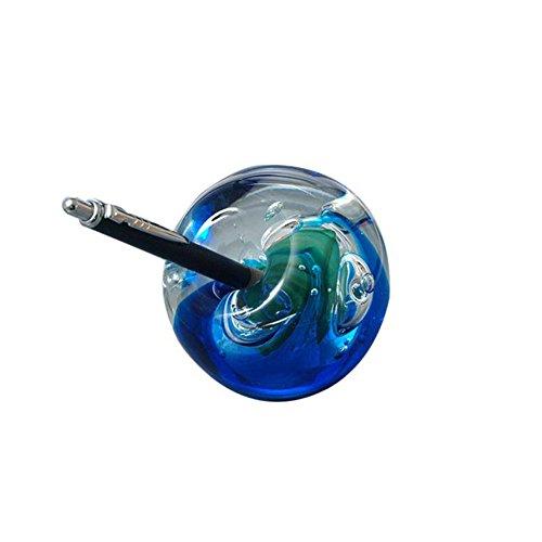 Traumkugel Briefbeschwerer aus Glas groß mit Stifthalterung - blau mit grünen Blase - Handarbeit