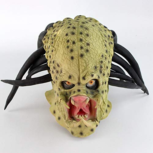 HEROMEN Alien Vs. Casco De Ltex Depredador,Halloween Horror Mask Party Dress Up Show Props,Green