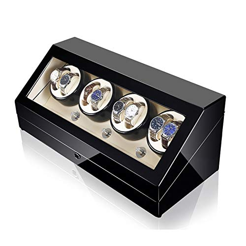 LJP Caja de bobinado de reloj, para 8+12 cajas de almacenamiento automáticas de madera de 5 motores giratorios y japoneses, se adapta a la mayoría de relojes mecánicos giratorios y, blanco,