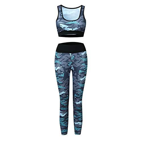 Geagodelia 2 Teilig Sportanzug Damen Bekleidung Sport BH+Leggings Trainingsanzug Damen Yoga Set Damen Bekleidung Fitness Set (Camo B, s)