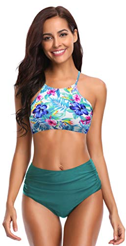 SHEKINI Damen Brazilian Bikini Set Bandeau Push Up Muster Bikini Oberteil Mit High Waist Bikinihose Sport Bademode Geteilter Badeanzug Große Badebekleidung S-XXL (Large, Grüner Druck)