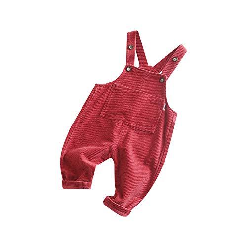 Cutemini Baby Mädchen Jungen Cord Overall Hose mit Hosenträger Kinder Baumwolle Latzhose mit Tasche Kleidung (Cord rot, 12-18 Monate)