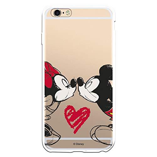 Funda para iPhone 6 Plus - 6S Plus Oficial de Clásicos Disney Mickey y Minnie Beso para Proteger tu móvil. Carcasa para Apple de Silicona Flexible con Licencia Oficial de Disney.