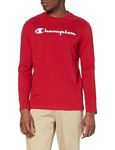 Champion Hombre - Camiseta de Manga Larga Classic Logo - Rojo, XXL