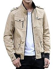 [リコルス] ジャケット アウター 薄手 ジャンパー 無地 長袖 お洒落 シンプル カジュアル ミリタリー 上着 メンズ