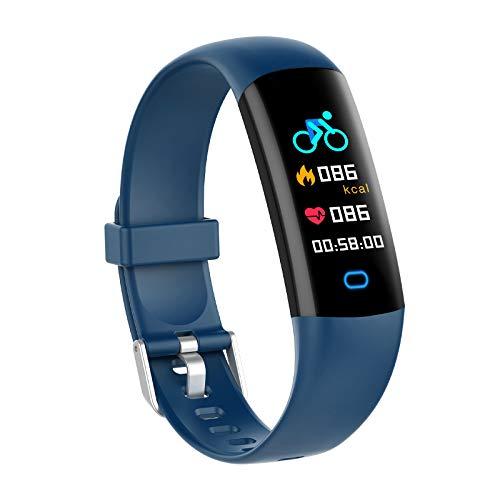 YoYoFit Fitness Tracker Kinder mit Blutdruck Pulsmesser,Fitness Uhr Wasserdicht IP68 Schwimmaktivität Schrittzähler,Fitness Armband mit Schlafmonitor Aktivitätstracker für Damen Herren Kinder (Blau-1)