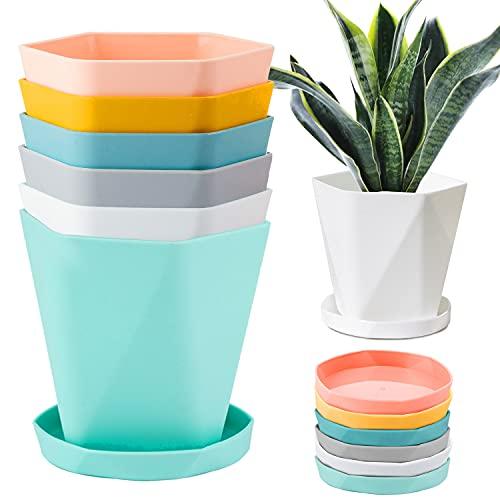 JSPYFITS Vaso per Piante in Plastica con Piattino Set di 6, 13CM Multicolore Stile Nordico Piantatrice della Scuola Materna Decorativa Vasi da Fiori da Giardino Verde per Interni Esterni pianta