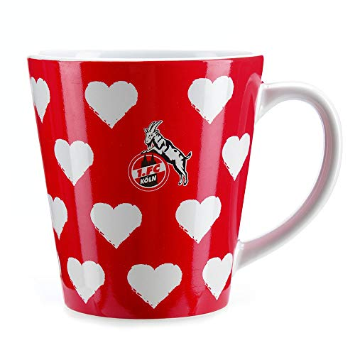 1. FC Köln Tasse, Kaffeetasse Herzen rot - Plus Lesezeichen I Love Köln