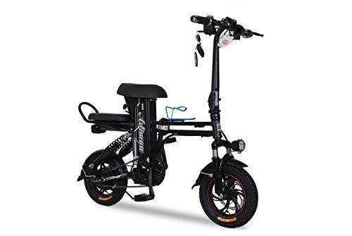 Mini Coche Eléctrico Plegable para Motocicleta, Coche Eléctrico para Dos Pedales para Adultos, Coche de Batería de Litio Portátil Plegable, Batería de Viaje para Motocicleta Al Aire Libre,Negro,48V15A
