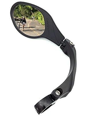 Hafny Stainless Steel Lens Handlebar Bike Mirror, Safe Rearview Mirror, Bicycle Mirror, Cycle Mirror (Black Left Side w/Reflector) (Left)